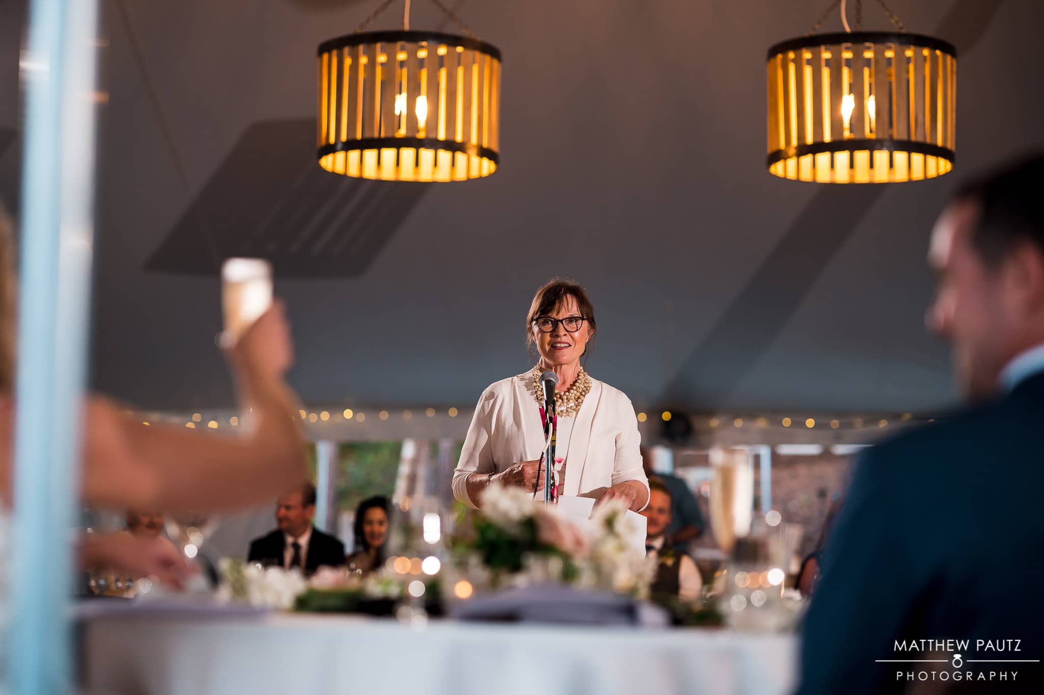 wedding reception toasts at Junebug Retro rv resort