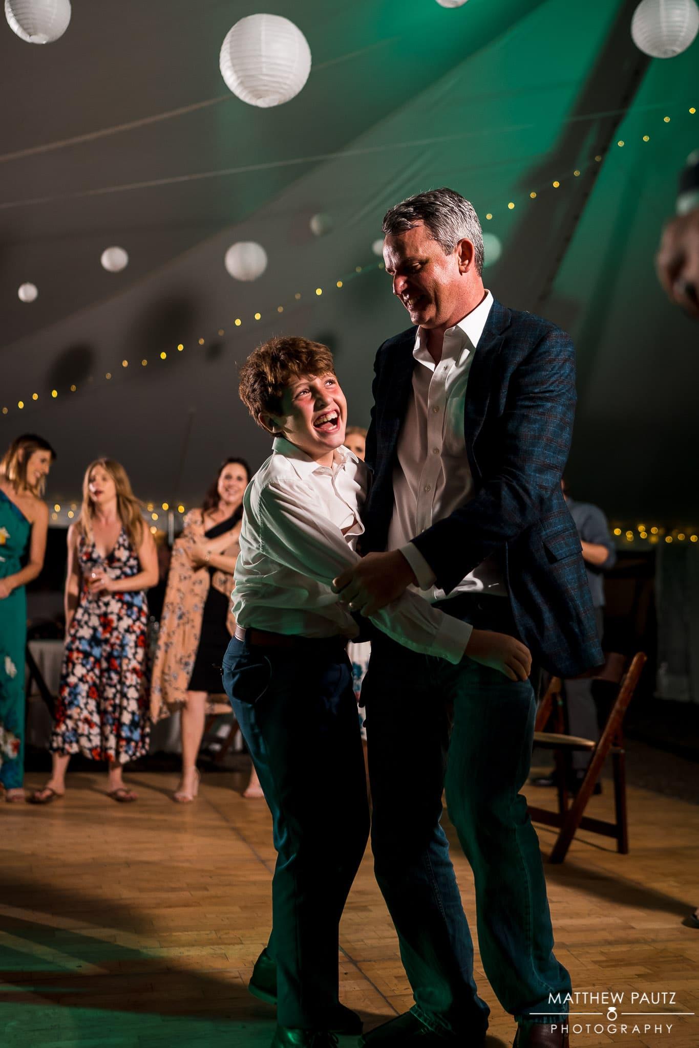 dancing wedding guests at asheville wedding reception