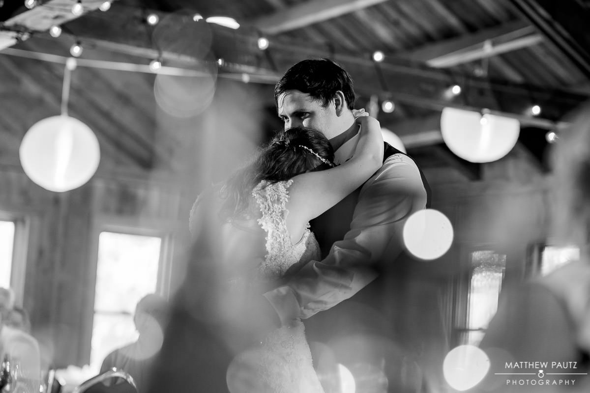 bride and groom's first dance at The Lodge at camp Buckhorn