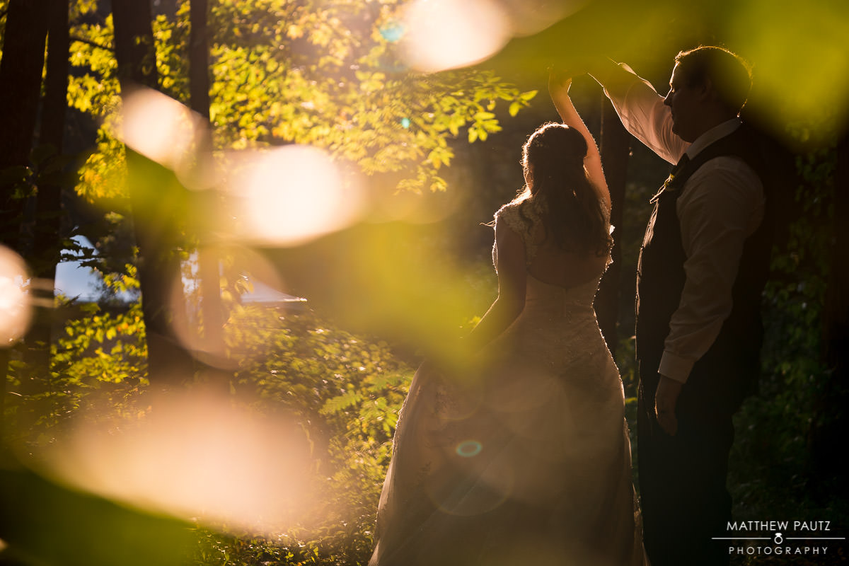 Sunset wedding photos at Paris Mountain state park