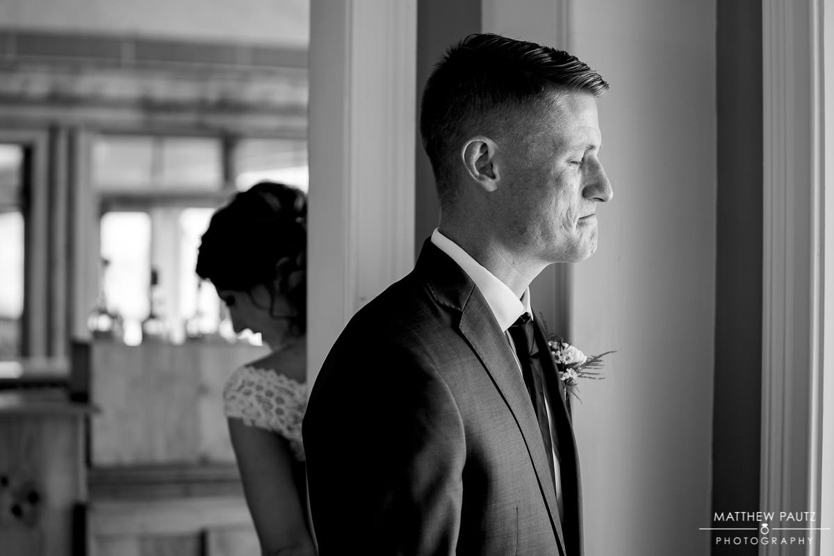 Groom crying before seeing bride for the first time