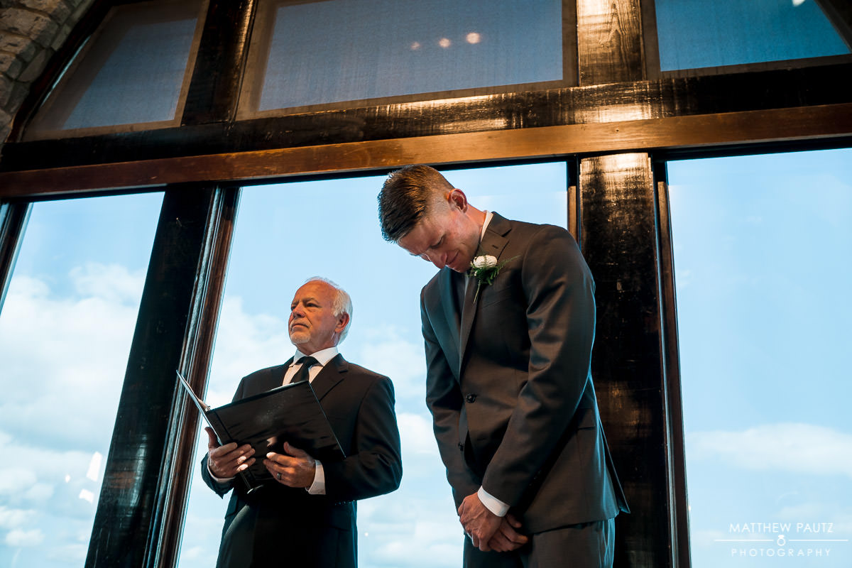 Groom's reaction to seeing bride for the first time at wedding ceremony