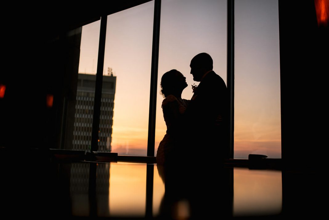 Sunset wedding at The Commerce Club in Greenville sc
