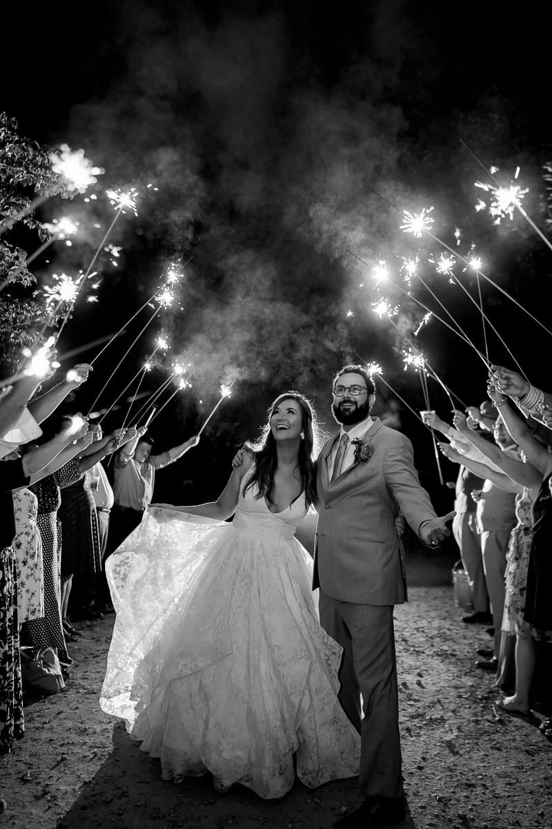 wedding reception sparkler exit photo