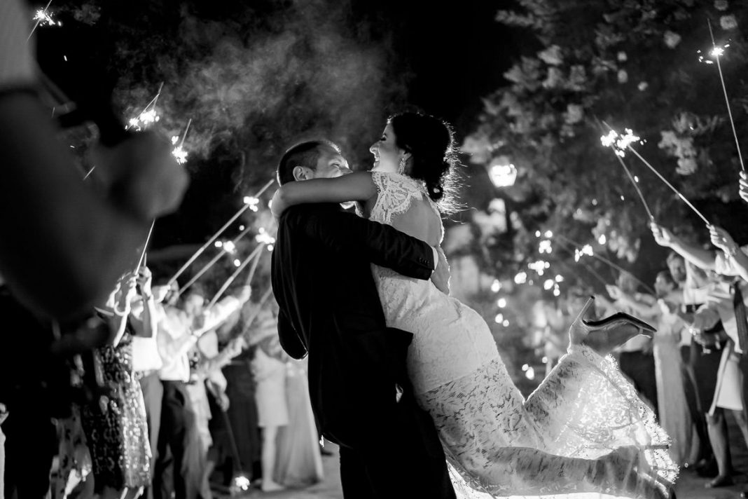 sparkler exit photo after wedding reception