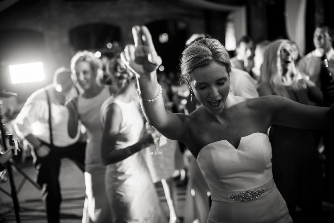 bride dancing at her wedding reception