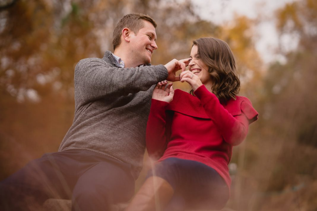 goofy engagement photos
