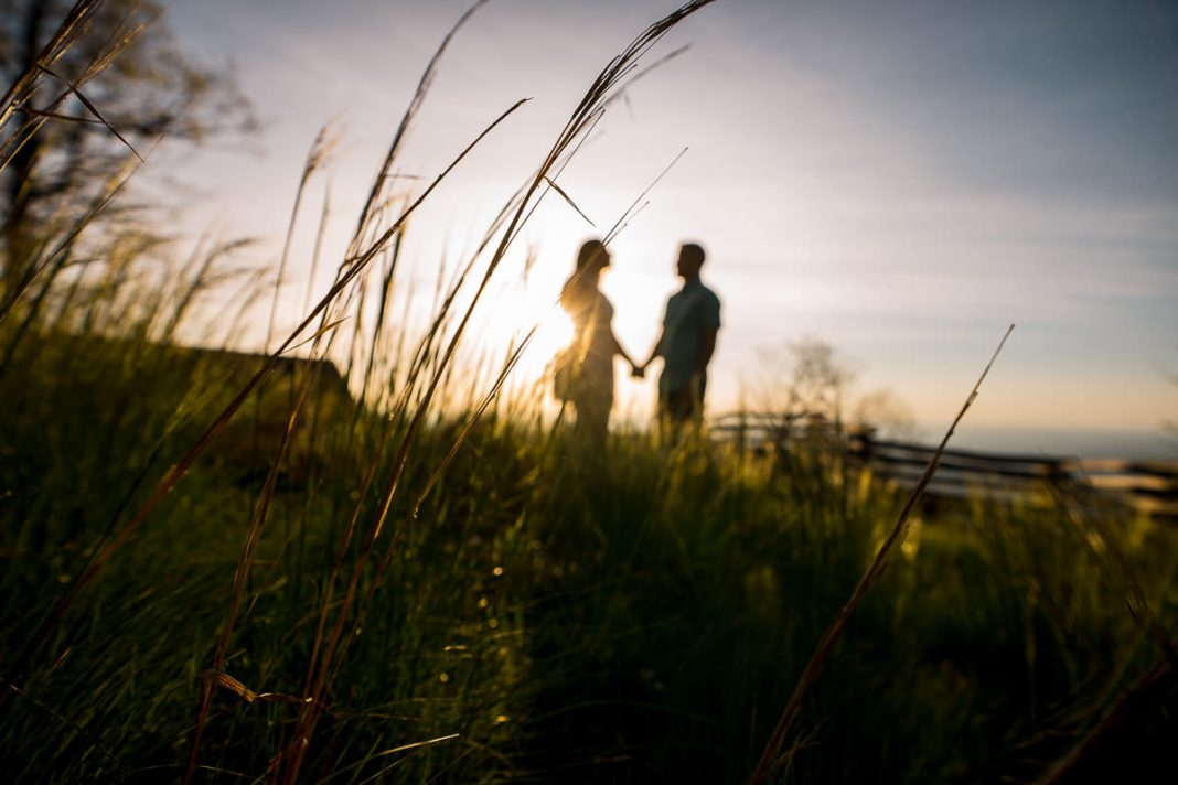 Glassy mountain chapel sunrise engagement photo