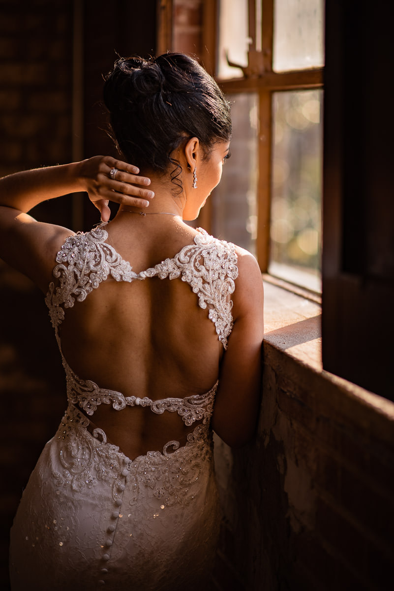 bridal portrait at window