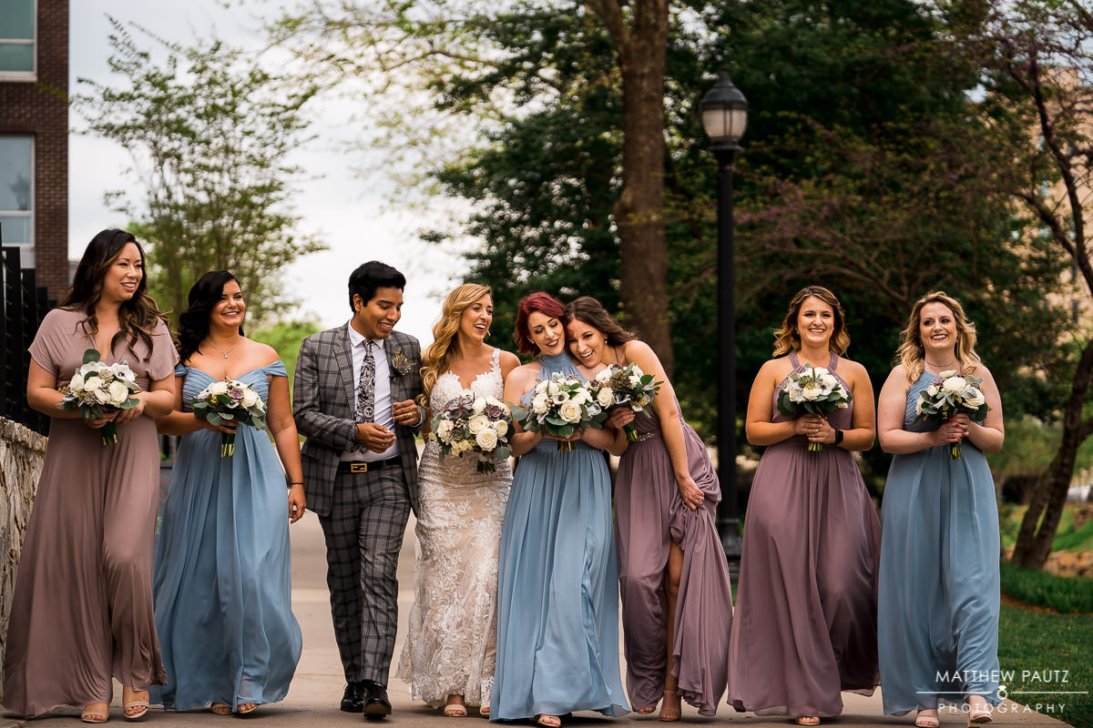 wedding party photos in downtown greenville