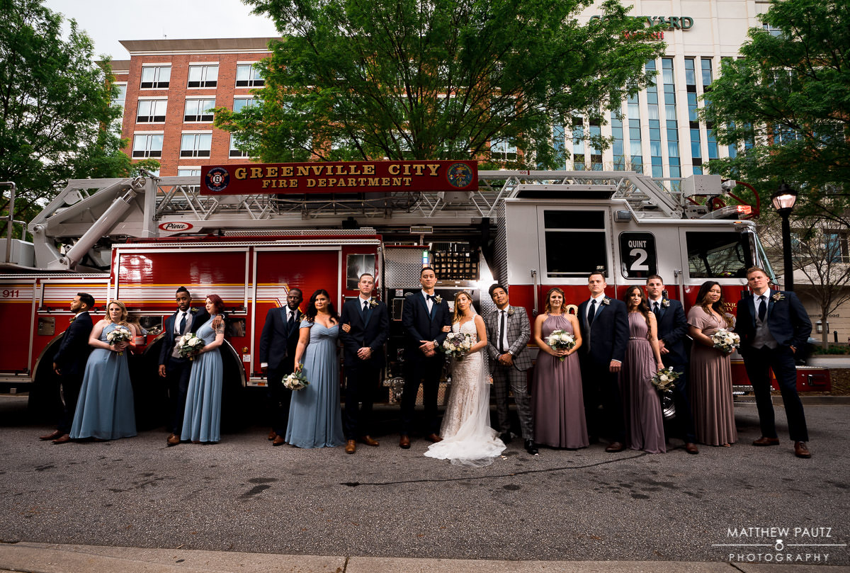 firefighter wedding party photo