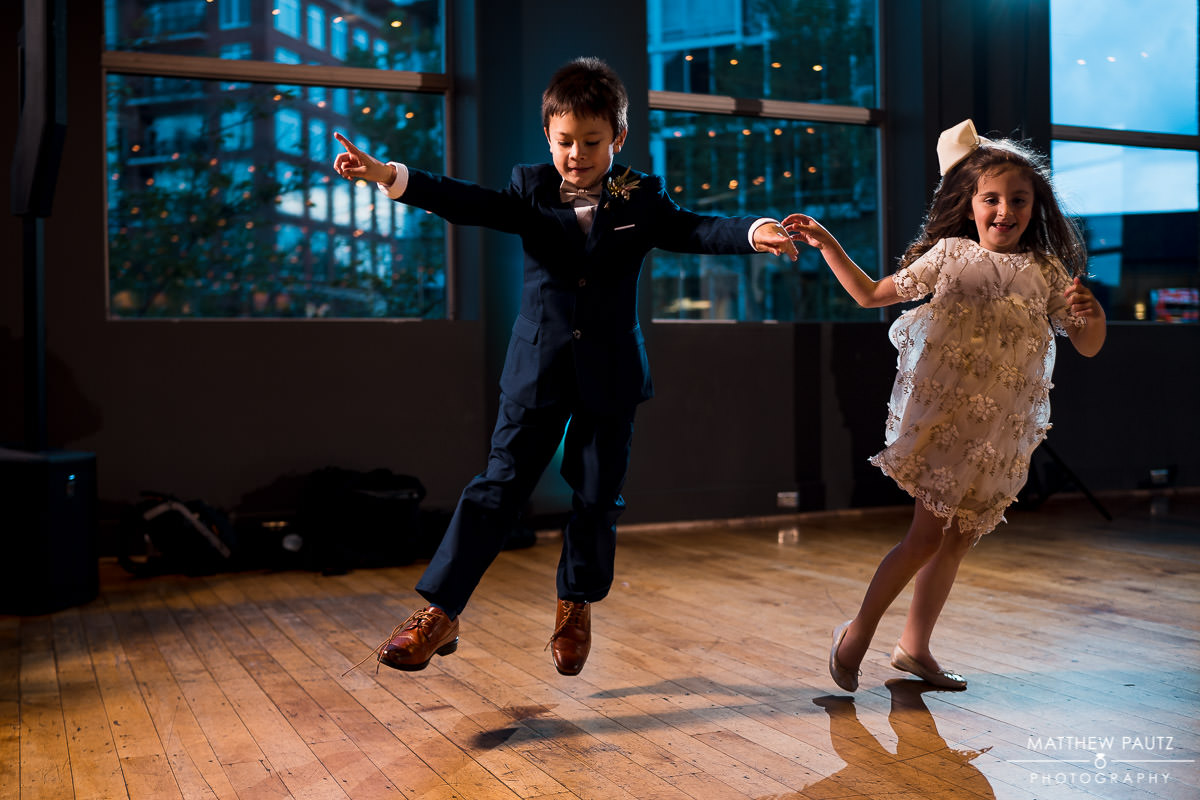 kids dancing at wedding reception at the huguenot loft