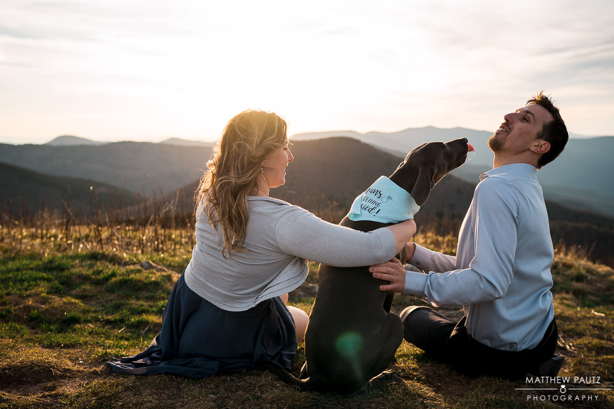 a couple watches the sunset on a mountaintop with their dog