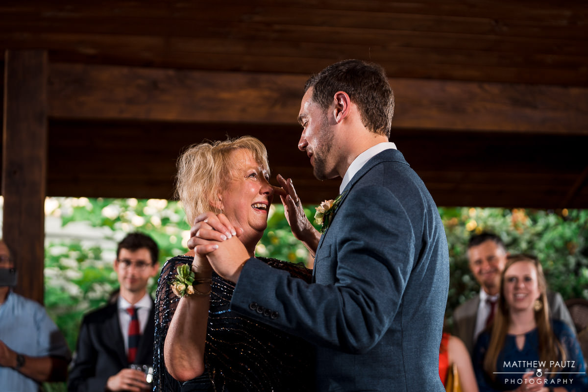 groom dancing with his mother at viewpoint at buckhorn creek wedding