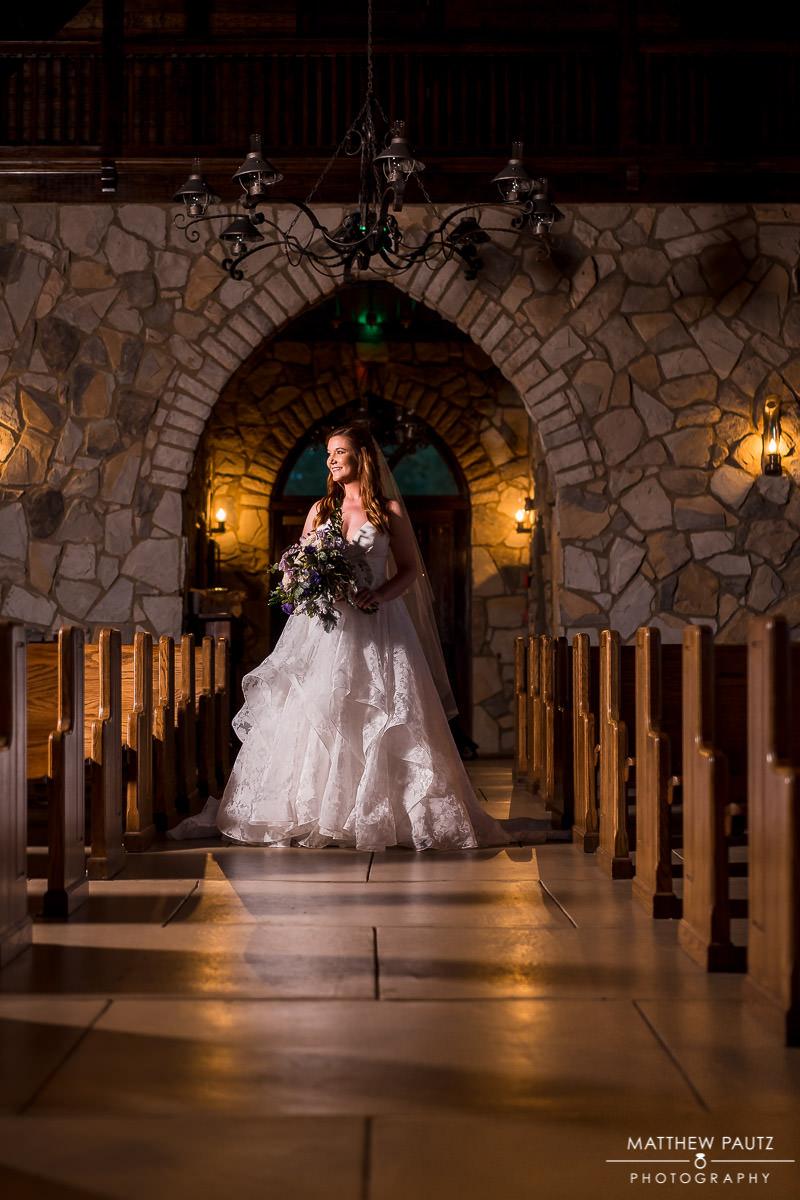 Cliffs at glassy chapel wedding photos