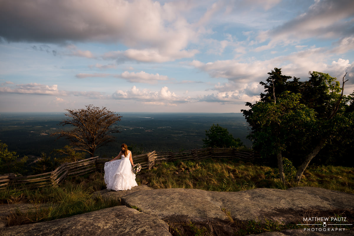 Cliffs at glassy mountain wedding photos
