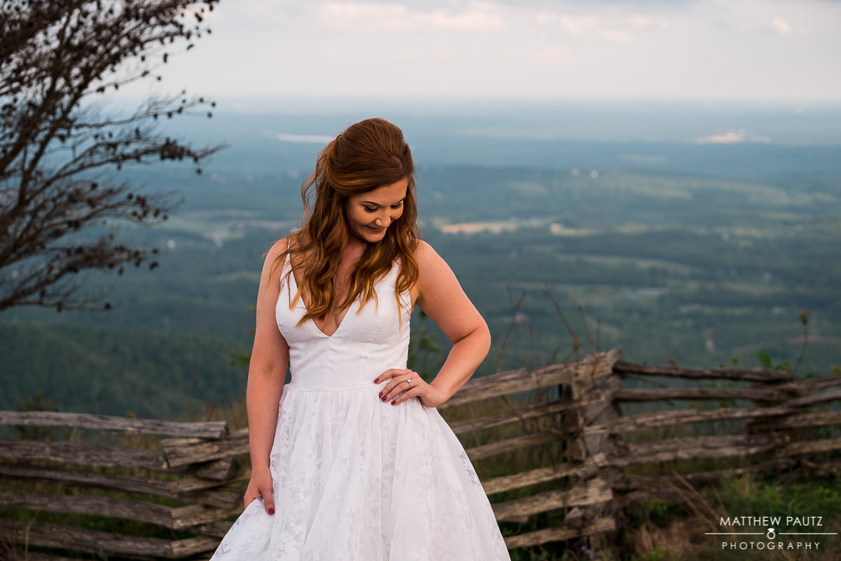Cliffs at glassy mountain bridal photos