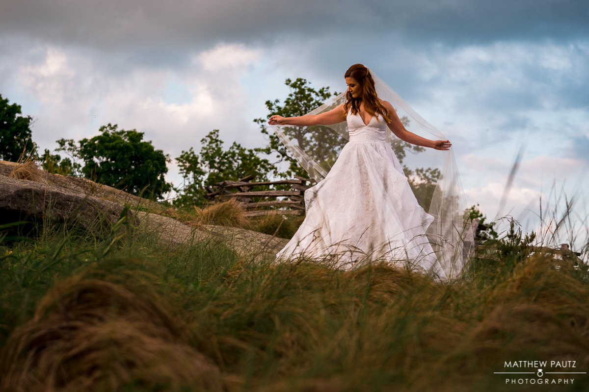 Cliffs at glassy bridal photos