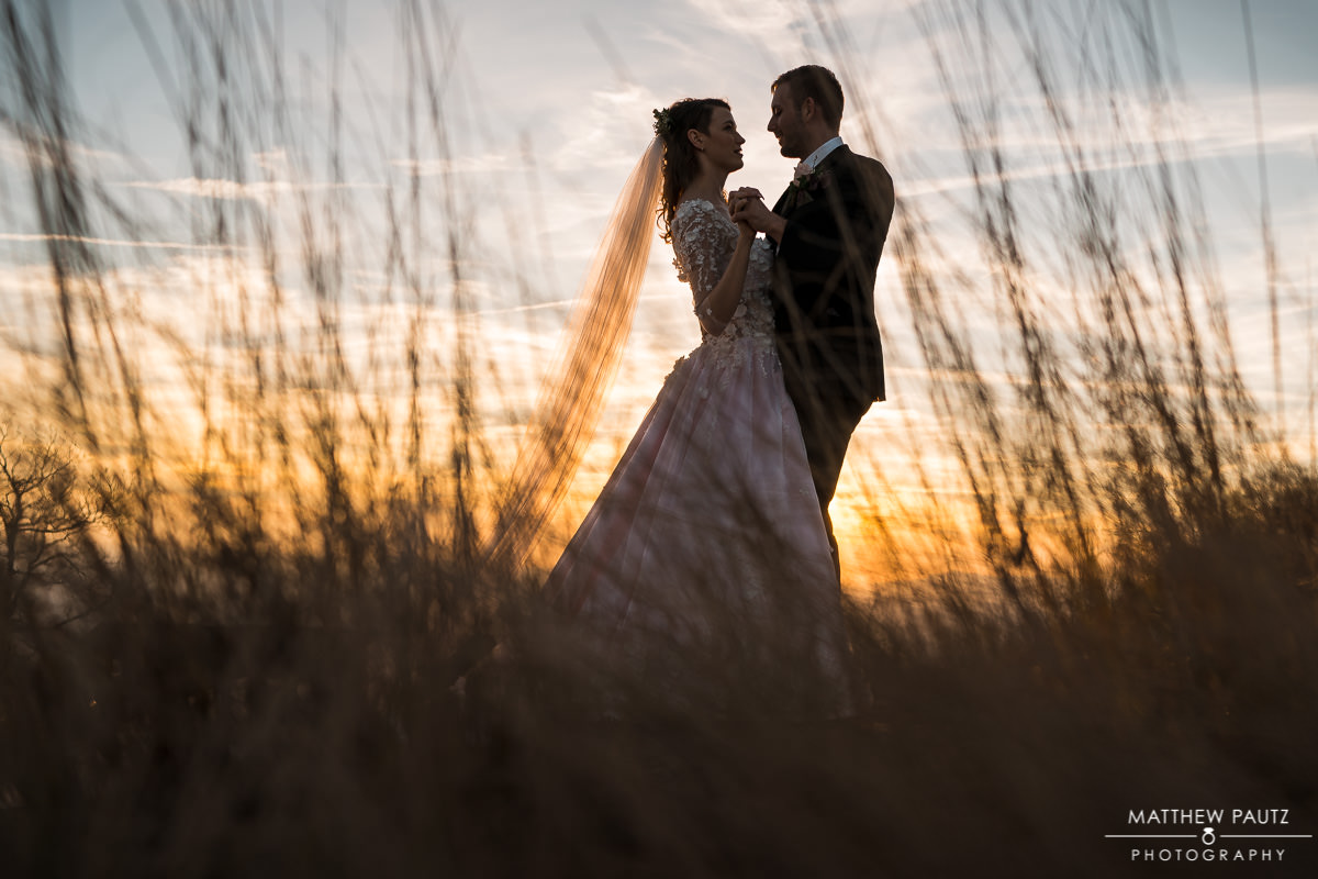 sunset wedding photos in greenville sc