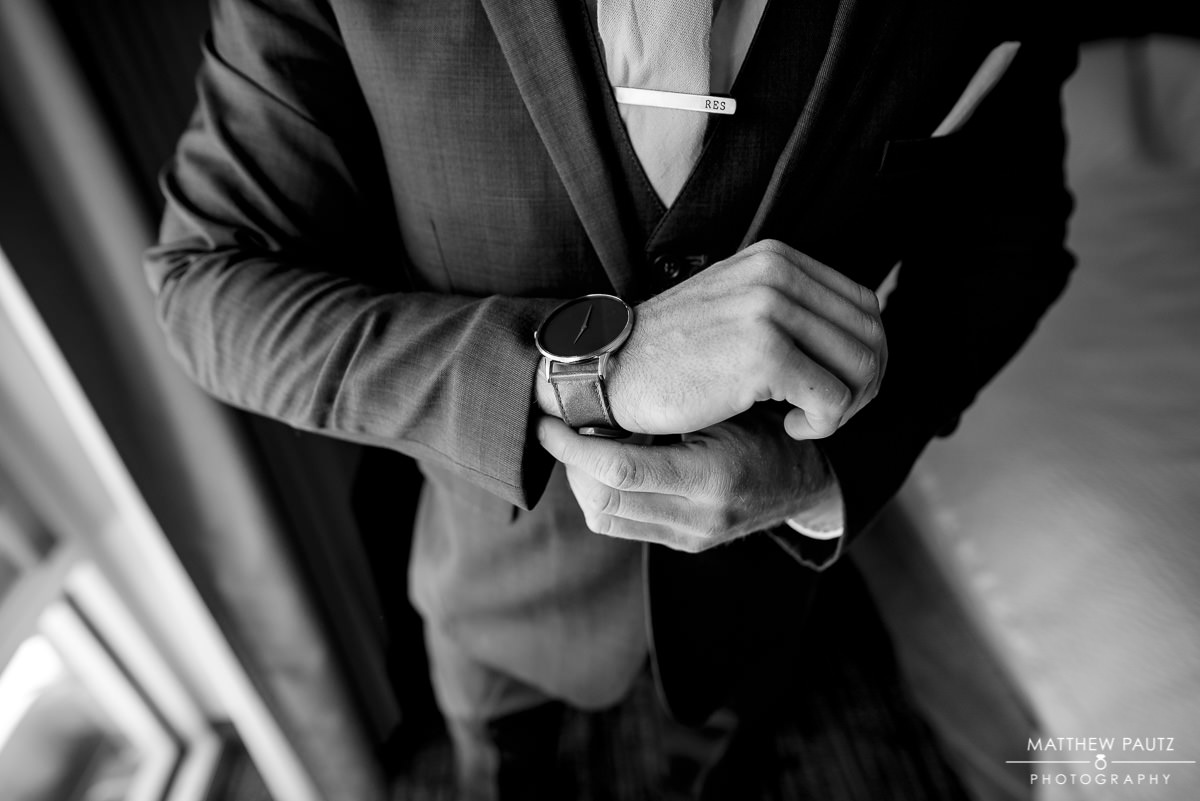 photos of a groom getting ready for wedding day