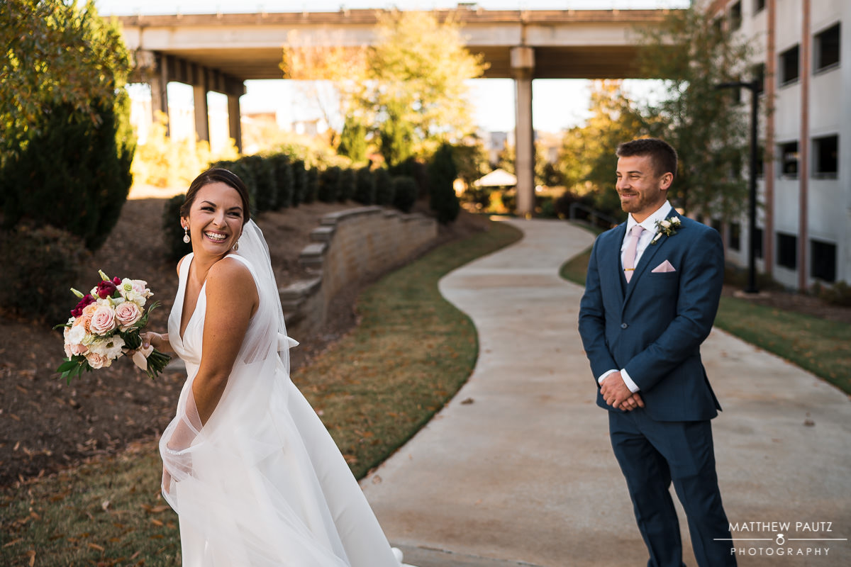 first look photos at a wedding in Greenville sc